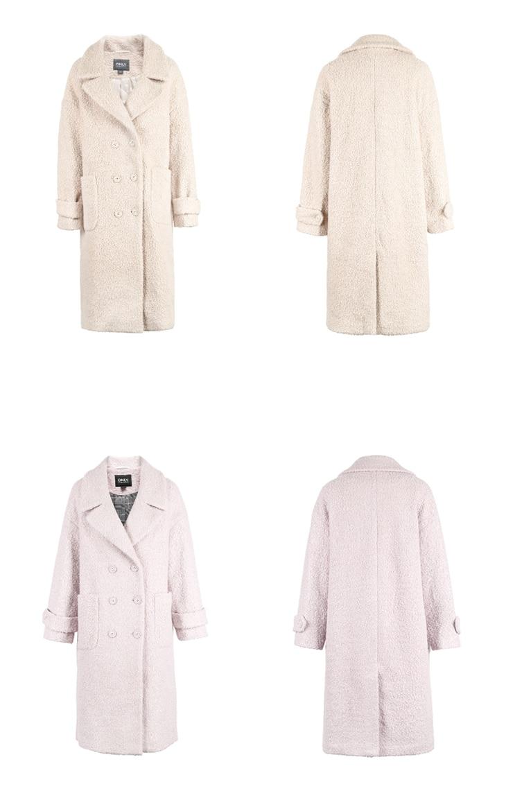ONLY womens' winter new oatmeal Teddy hair long coat Loose version Rear slit hem design|118422505 20
