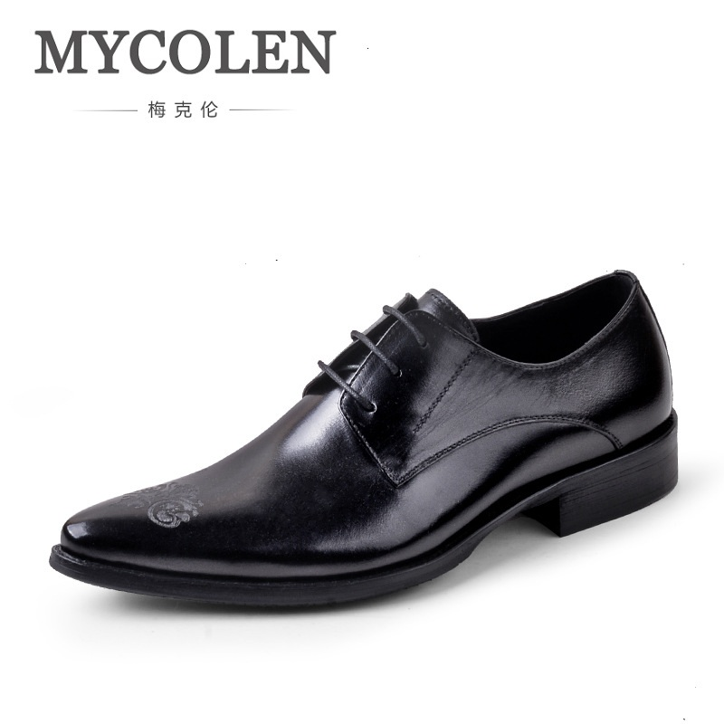 MYCOLEN Spring/Autumn Italian Dress Shoes Men Genuine Leather Pointed Toe Lace Up Business Carved Dress Oxford Shoes For Men new arrival men s oxford shoes italian design embossed leather pointed toe stone pattern decoration business men dress shoes