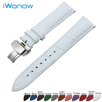 Genuine Leather Watch Band 20mm For Samsung Gear S2 Classic R732 R735 Stainless Butterfly Buckle Strap