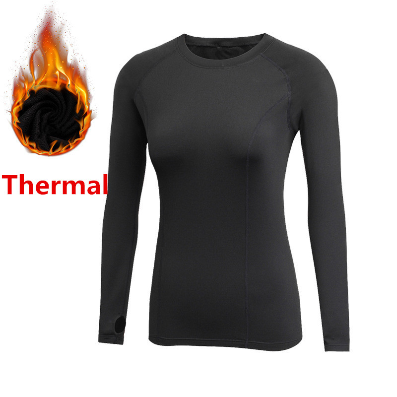 Thermal T shirts For Women Gyms Fitness Tees Long Sleeve Fleece Autumn Winter Spring Compression Tops Warm Slim Fit Clothing