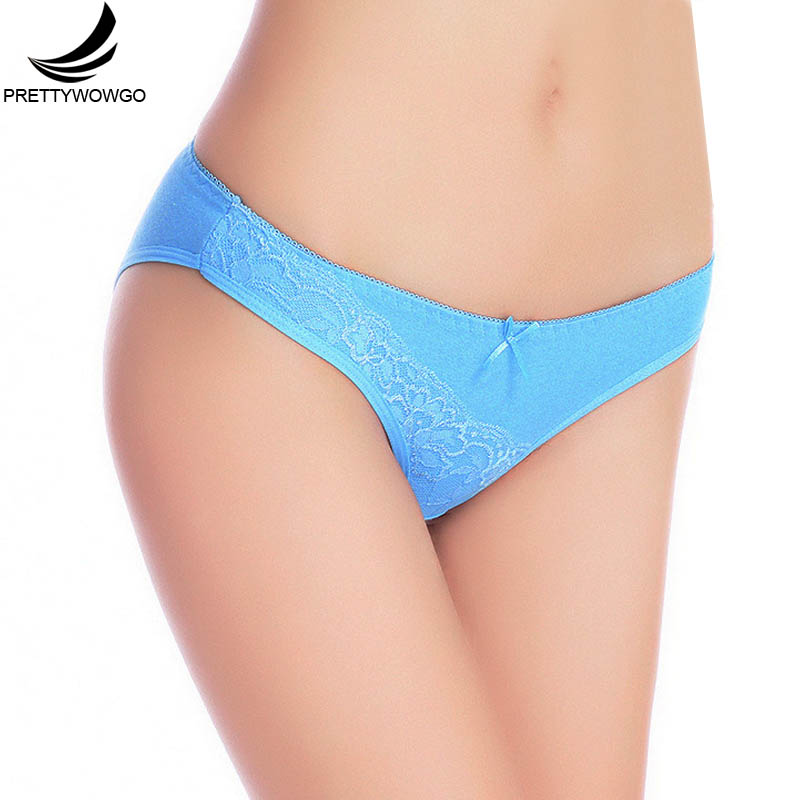 Prettywowgo Hot Sale Briefs 2019 Women 6 Solid Color Cotton Sexy Lace   Panties   M L XL 6970