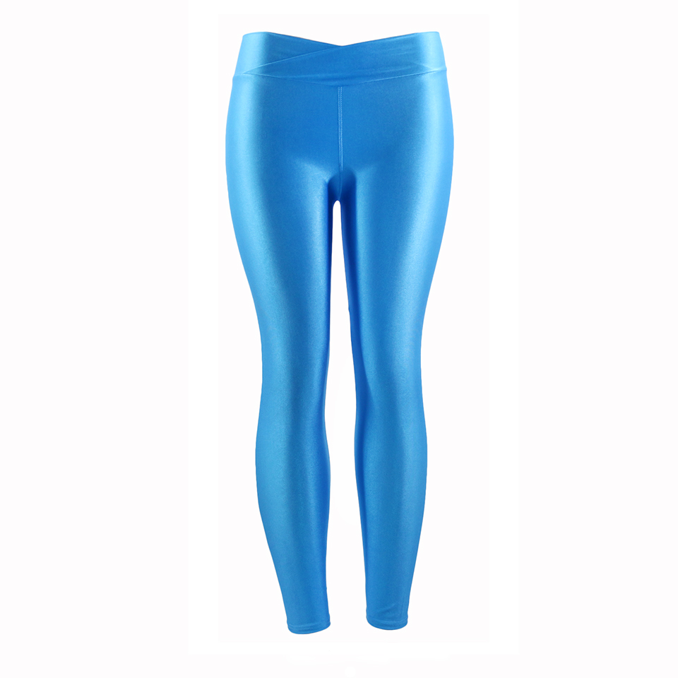 Fluorescent Color Women Workout Leggings V-Waist Multicolor Shiny Glossy Trousers Plus Size Female Elastic Casual Pants