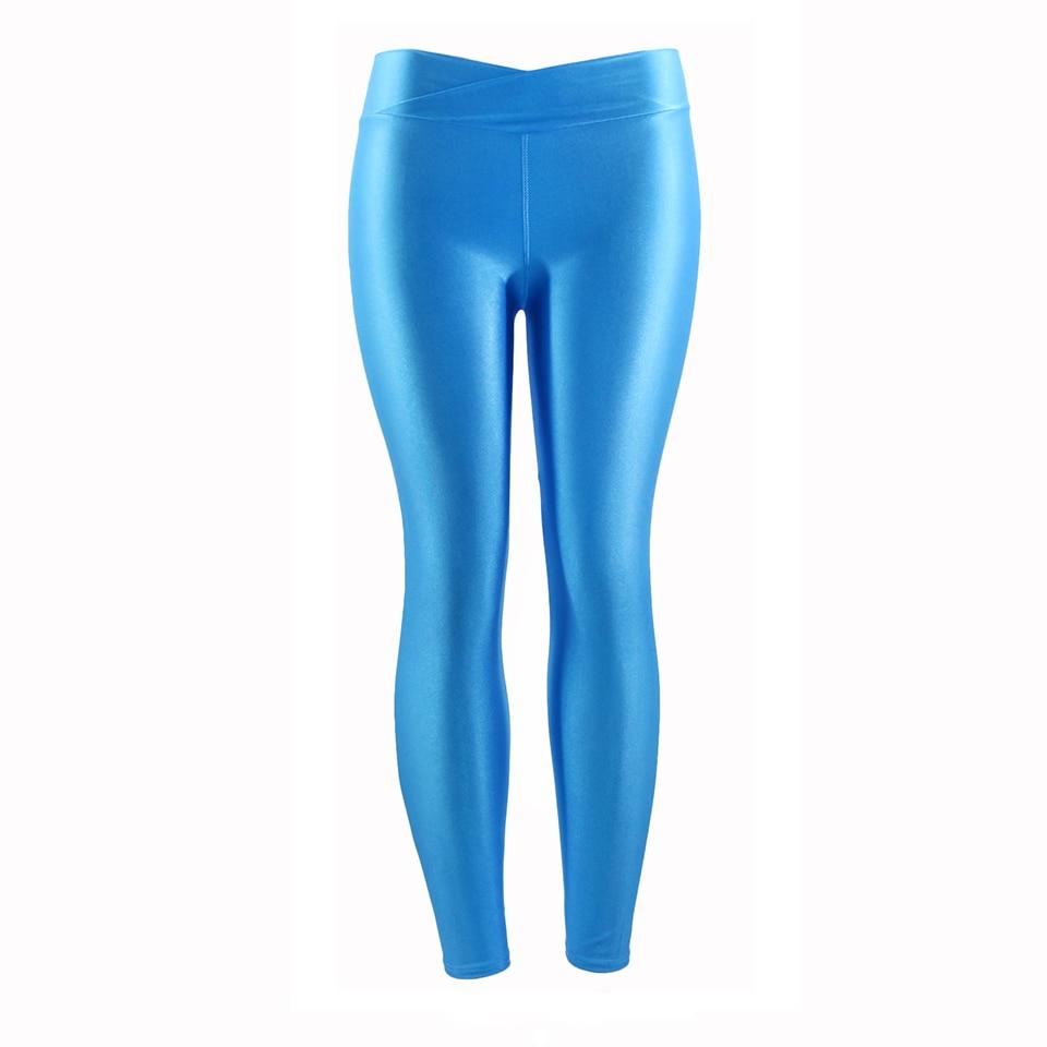 Leuchtfarbe Frauen Workout Leggings V-taille Multicolor Glänzenden Glänzend Hosen Plus Größe Weibliche Elastische Beiläufige Hosen Geeignet FüR MäNner, Frauen Und Kinder