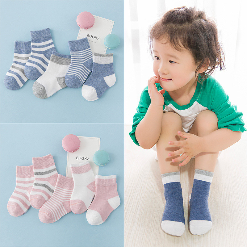 5 Pair=10 PCS /lot Baby Socks Neonatal Autumn Winter Cotton Fashion Stripe Plain Stripes Kids Girls Boys Children Socks