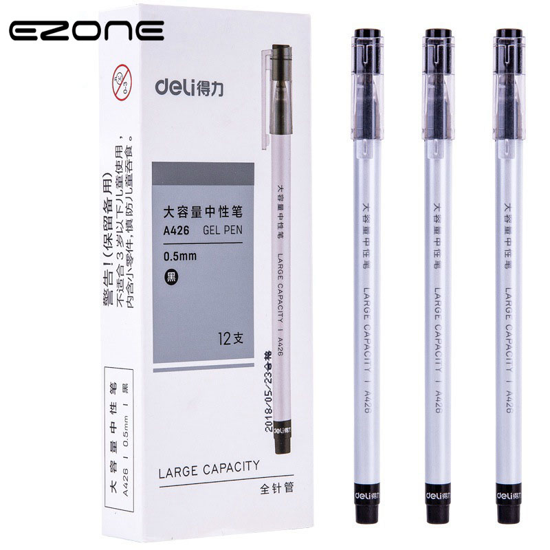 EZONE 5PCS Gel Pen 0.5mm Black/Red/Blue Color Ink Large Capacity Write Smoothly Pen  Students Office Stationery Contracted Style
