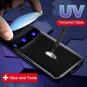 Image 1 - UV נוזל מעוקל מלא דבק מזג זכוכית עבור Samsung Galaxy S10 S20 בתוספת S8 S9 בתוספת הערה 10 בתוספת 8 9 S10 כיסוי מסך מגן