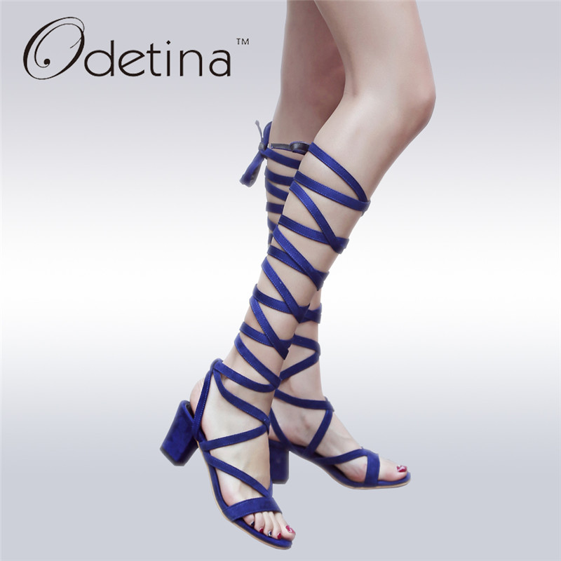 Odetina 2017 New Fashion Gladiator Sandals Women Knee High Chunky Heel Sexy Open Toe Cross Strap Sandals Summer Boots Lace Up new 2017 hot selling fashion women luxury sexy black gladiator cuts out open toe lace up back 100 mm phaedra peacock sandals