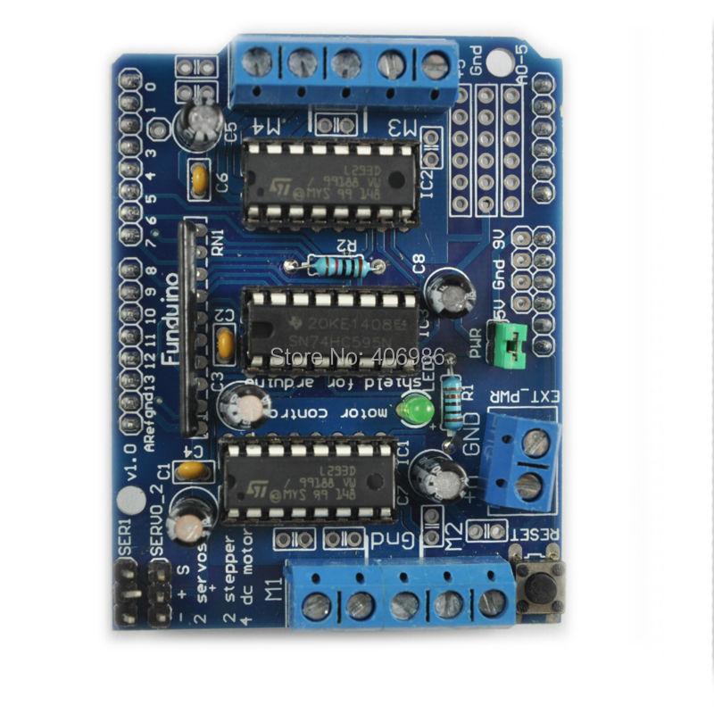 2pcs/lot L293D Motor Drive Shield Expansion Board L293D  Module  For Arduino UNO Duemilanove Mega2560