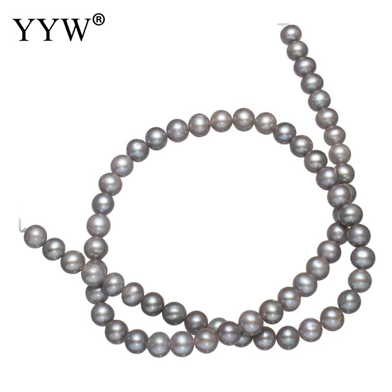 YYW 7-8mm Natural Grey Fashion Loose Pearl Beads Necklace Bracelat Jewelry Making DIY Potato Shape Freshwater Pearl Beads недорго, оригинальная цена