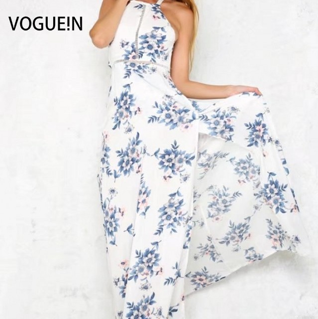 e306ad3f2b VOGUE!N New Womens Ladies Summer Beach Blue Floral Print Lace Mix Backless  Maxi Dress Size SML Wholesale