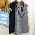 New 2017 Spring Vintage Long Plaid Women's Suit Vests Feminine Brief Single Button Ladies vests Sleeveless waistcoat Tops