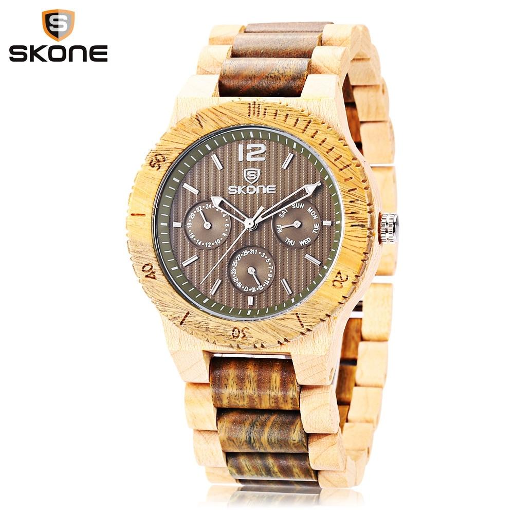 SKONE Men Wooden Quartz Watch Fashion Date Day Luminous Display Working Sub-dial Wood Wristwatch skone 2017 hot sell men dress wooden quartz watch with calendar display bangle