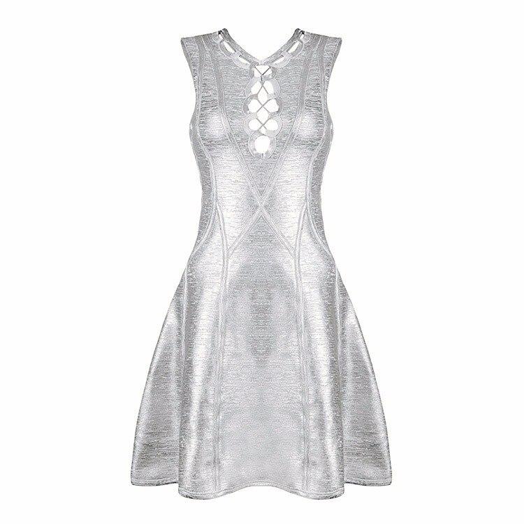 Femmes Élastique Tricoté Designer Or Robe Bandage 2016 Rayonne Sexy D'été Argent argent Moulante Or Plissée WI29EHD