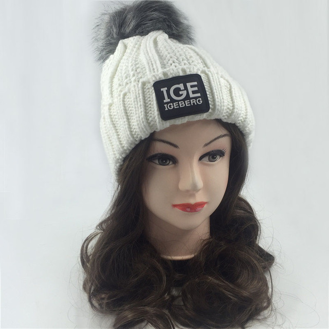 Fashion women Casual Hat female Winter Warm hats Cap with faux Fur Ball Pom Knitted Skullies Beanie Hat letters balaclava fleece