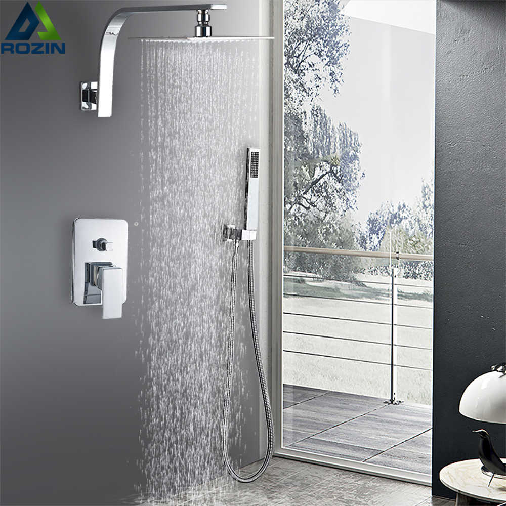Duvara monte krom banyo duş bataryası seti yağış kafa 2 yollu pirinç mikser musluklar duş başlığı şelale yağmur banyo muslukları