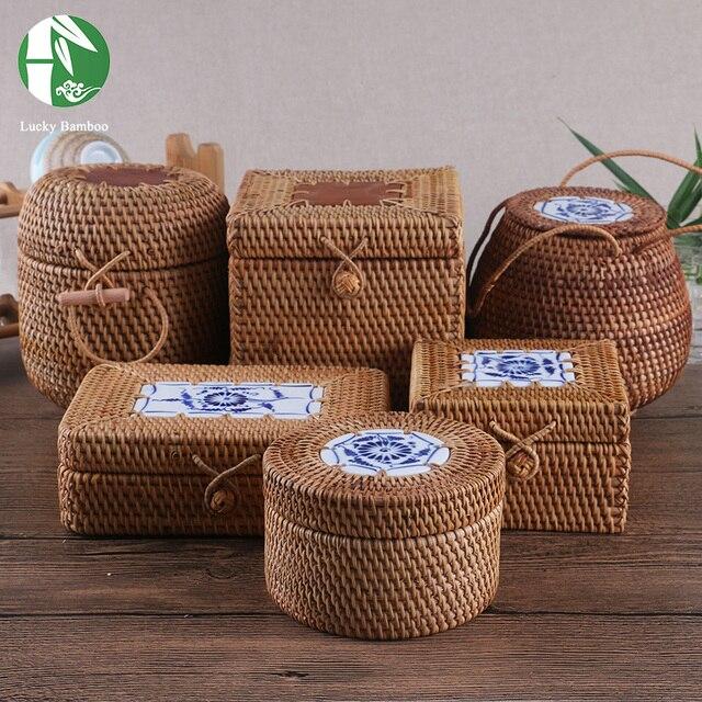 Caja de almacenamiento de ratán con tapa cuadrada y redonda caja de joyería tejida a mano vintage regalo