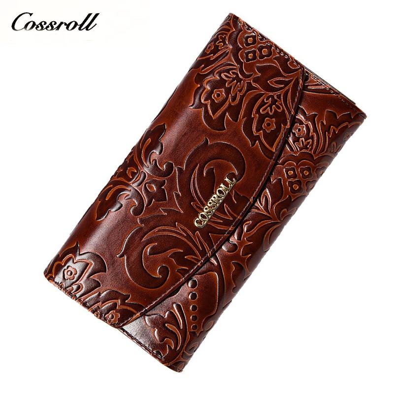 Embossing bloem vrouwen portemonnee echt leer vrouwelijke portemonnee - Portemonnees en portefeuilles