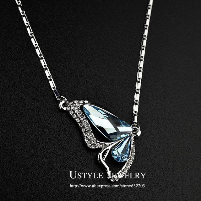 Ustyle azul cristal austríaco colar pingente borboleta facetada UN0006