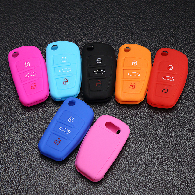 Fob Cover Silicone Car Key Case Skin Sticker for Audi A1 A2 A3 A4 A5 A6 A7 SQ5 S6 S7 S8 Q3 Q5 Q7 R8 TT RS5 Remote Flip Key Chain
