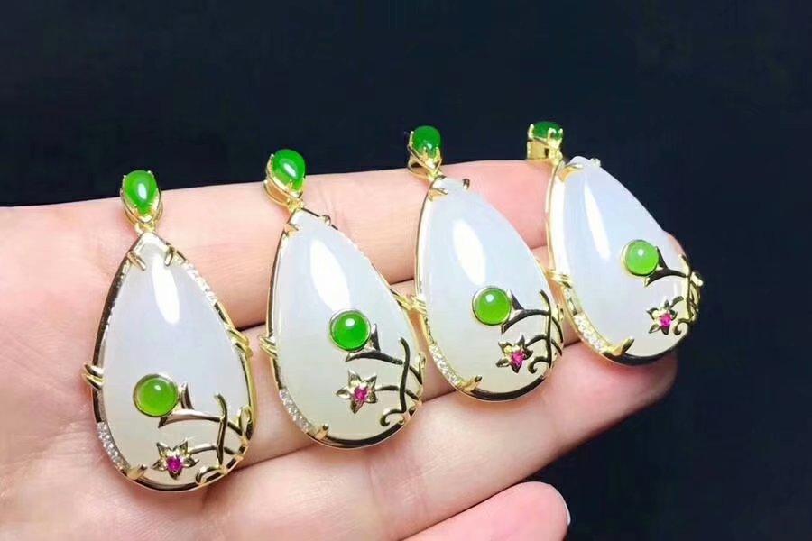 SHILOVEM 925 Sterling Silver Natural White Jasper Pendants Fine Jewelry Women Wedding Plant Wholesale Gift  New Xz132501agby