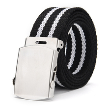 Canvas belt military buckle outdoor student training canvas knit pants tactical jeans unisex