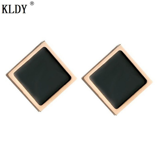 Kldy Woman Rose Gold Earrings Men Square Stud Stainless Steel Simple Small Fine Jewelry Christmas