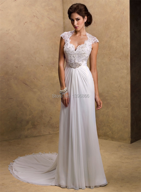 Fashionable beach wedding dress 2014 beaded top lace sexy keyhole fashionable beach wedding dress 2014 beaded top lace sexy keyhole back short sleeve bridal gowns chiffon junglespirit Image collections