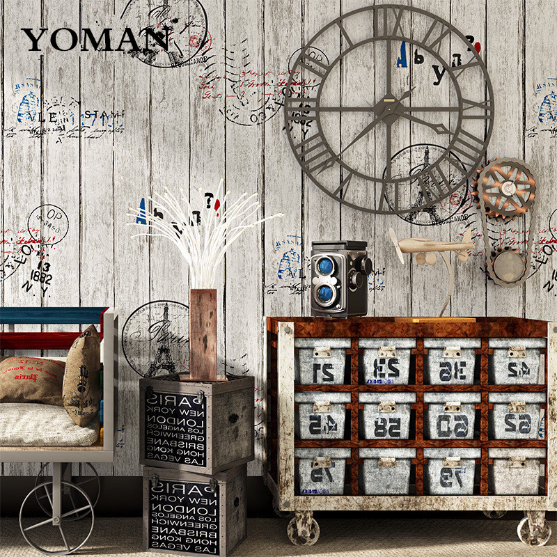 Wallpapers YOUMAN Wall Coverings PVC Vinyl Vintage Wallpaper Industrial Wood Panel Wall Paper Roll Coffee Shop Bar Restaurant