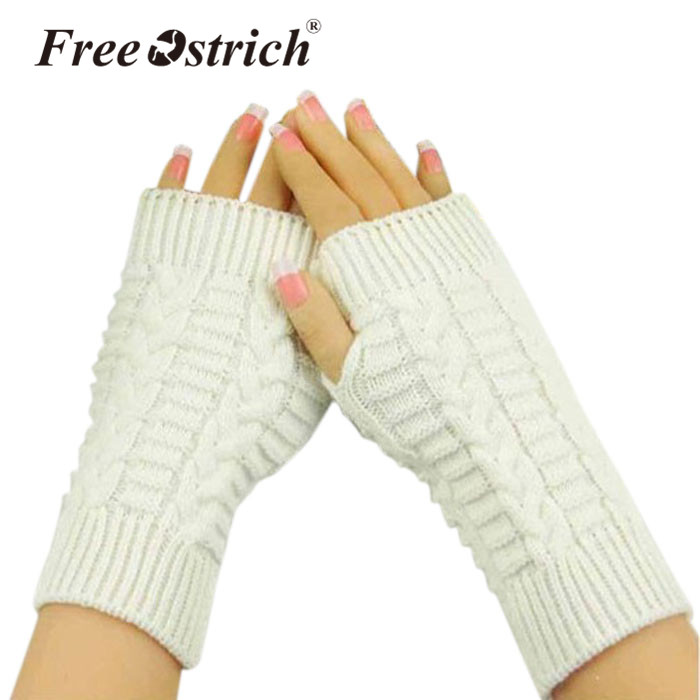 Free Ostrich Gloves Women's Girl Lady 2019 Warm Winter Brief Paragraph Knitting Half Fingerless Heart Shape Knitted Glove CJ20