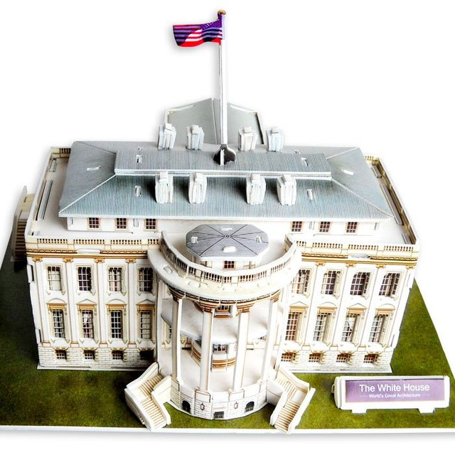 Freeshipping! The White House,Cubic Fun 3D Jigsaw Puzzle,3D paper model,DIY puzzle,Best Educational toys for Kids C060H