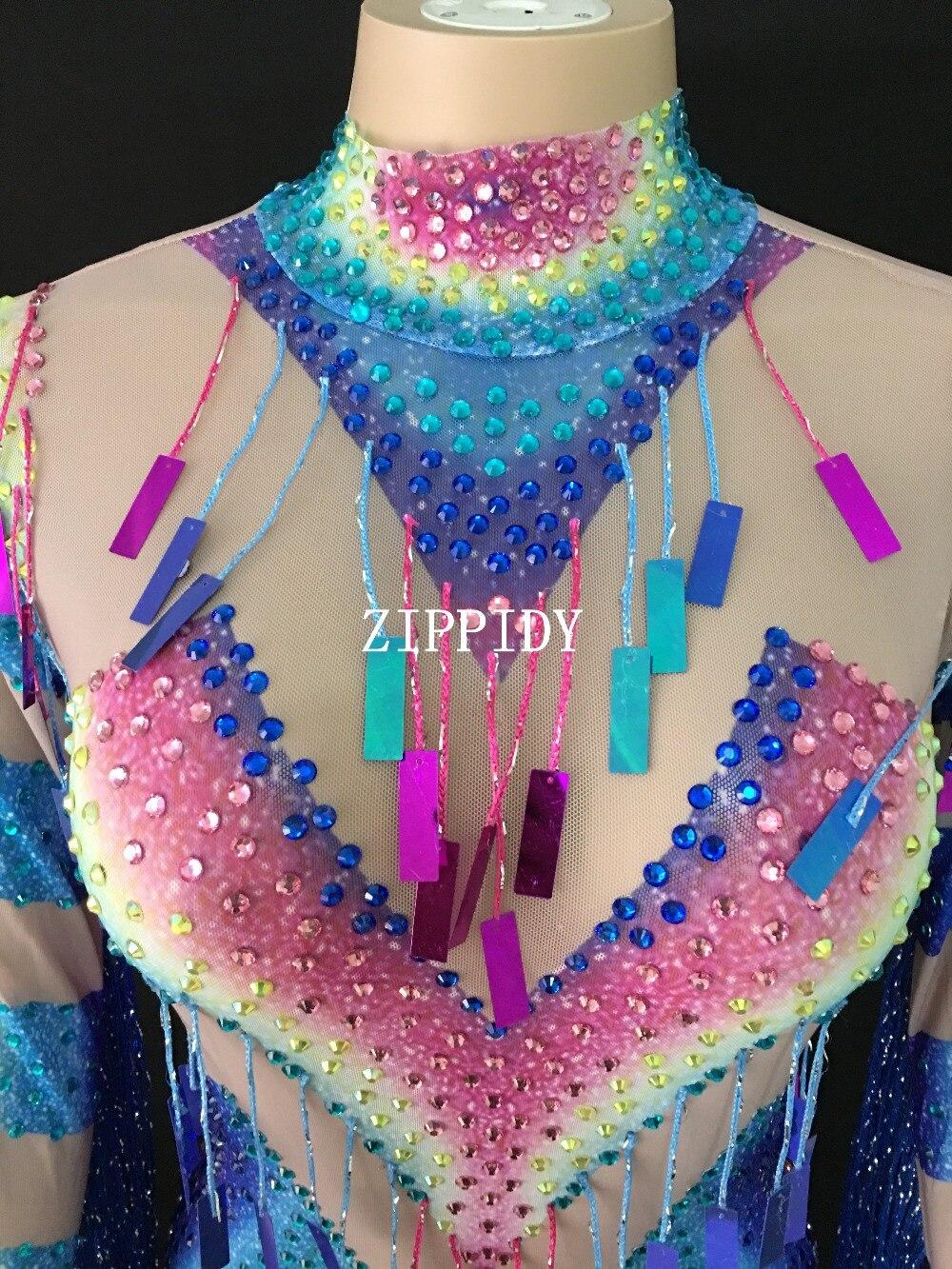 Kolorowe strasy frędzle perspektywa sukienka wieczór świętować przepuszczalność strój koronkowy Tassel kostium sukienka do tańca YOUDU w Suknie od Odzież damska na  Grupa 3