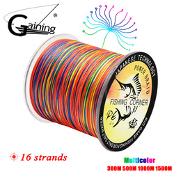 16 Strands PE Braid 300M/500M/1000M/1500M Braided Fishing Line Multicolor Super Power Japan Multifilament Saltwater/Freshwater