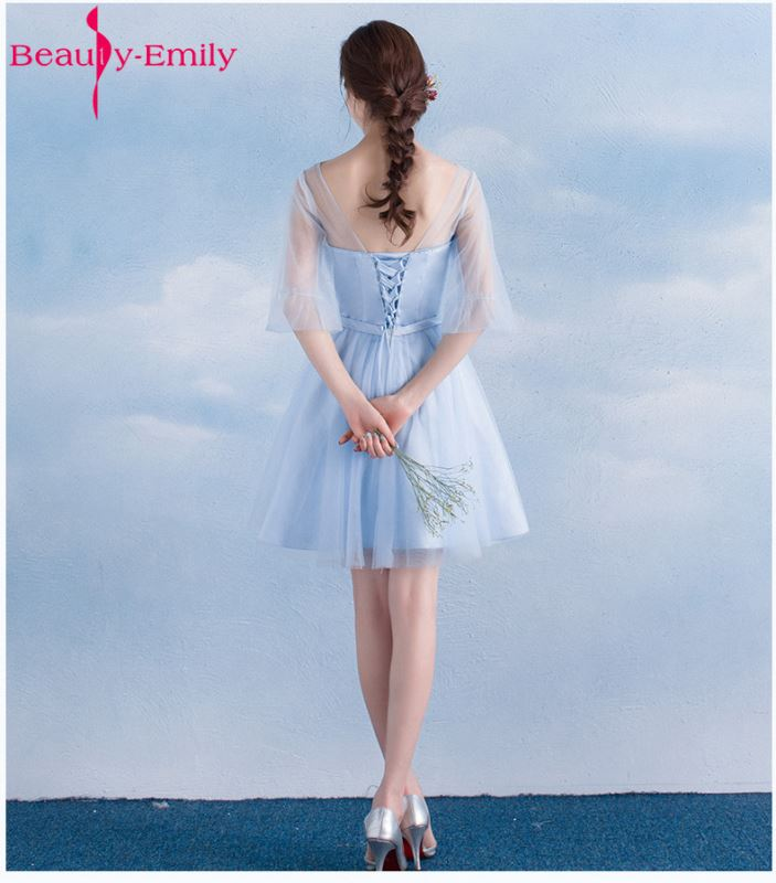 Beauty Emily Short Lace Blue Bridesmaid Dresses 2019 A-Line Sleeveless Lace Up Off the Shoulder Wedding Party Prom Dresses
