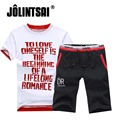 Jolintsai 2017 Homens Verão Definir Plus Size Manga Curta T camisas + Shorts Conjunto Ocasional Carta dos homens Top T + Bermuda de fitness 2 peças