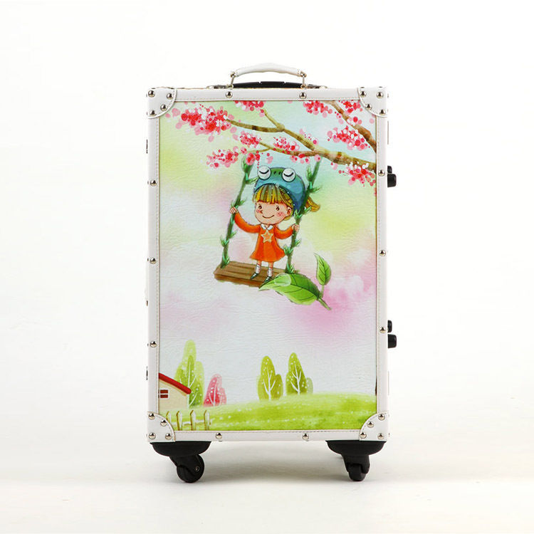 20/24 inches Cute cartoon high-grade PU leather suitcase + solid wood rod box Universal wheel lockbox luggage men and women