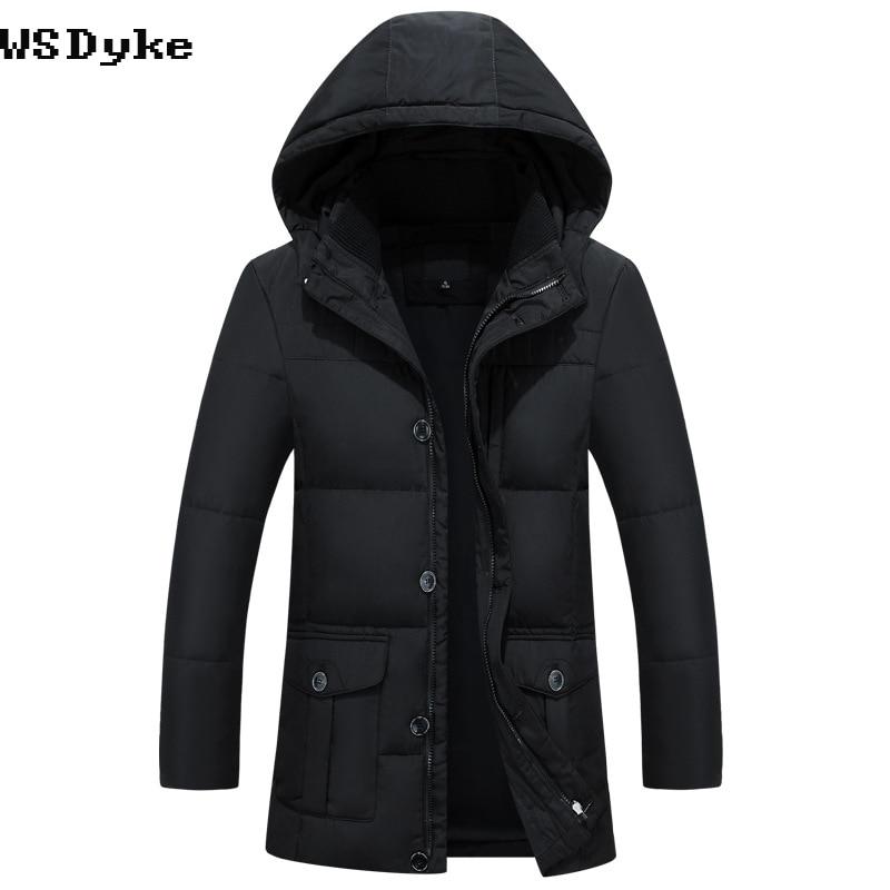 2017 Winter New Casual Long Hooded Mens Down Jacket Plus Size Waterproof Men Winter Parka Down Coat