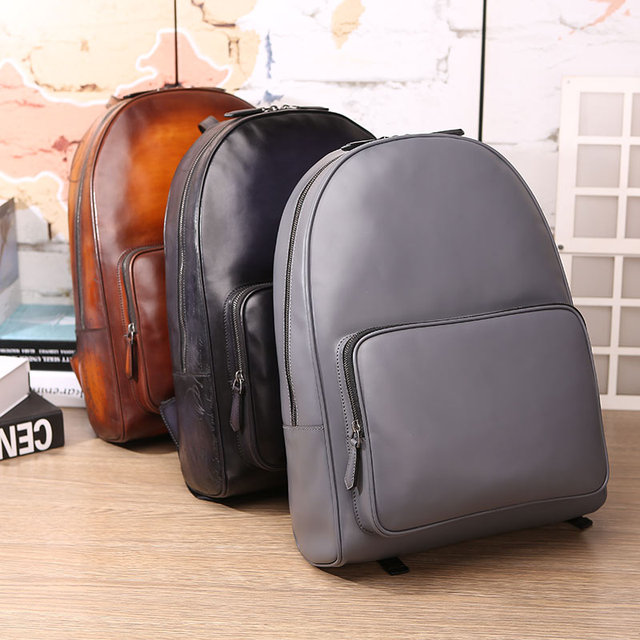Handmade Patina Time Off Leather Backpack Laptop Bags Mens Work Bags
