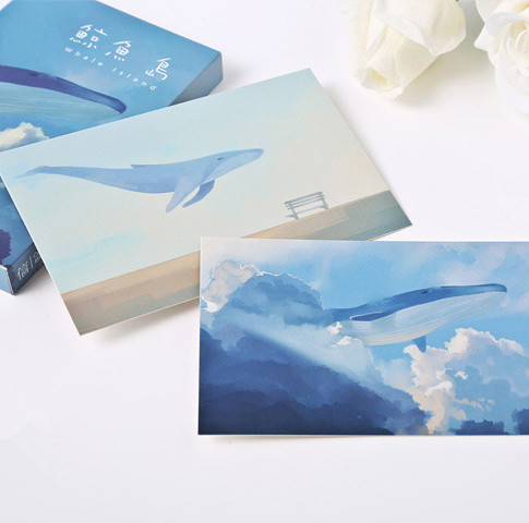 30Pcs Kawaii Whale Postcards Hayao Miyazaki Oil Painting Postcard Cute Cartoon Greeting Message Card Birthday Wish Card Gift