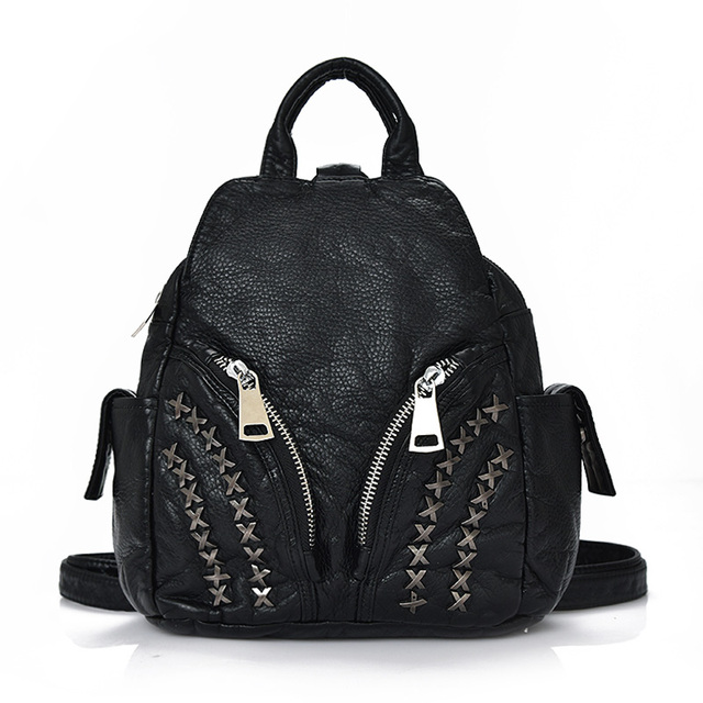 2017 Korean version of rivets soft washed PU leather Backpacks female leisure travel backpack school wind students bags