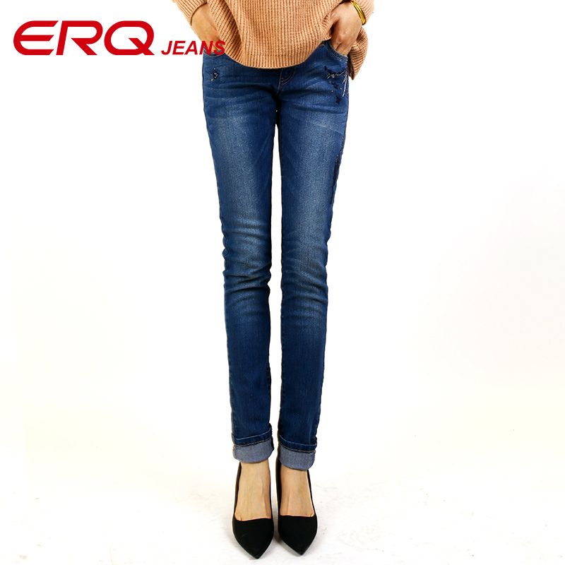 ERQ Skinny Jeans Women Stretch Jeans Straight Slim Low Waist Pencil Pants Fashion Trousers Bleached Mujer Slim Femme Girls 62004 rosicil new women jeans low waist stretch ankle length slim pencil pants fashion female jeans plus size jeans femme 2017 tsl049