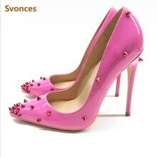 6c11ca513959 Piste femme talons hauts escarpins luxe Rose dégradé rouge Rivets pointus  talons aiguilles pointes Sexy formelle soirée chaussur.
