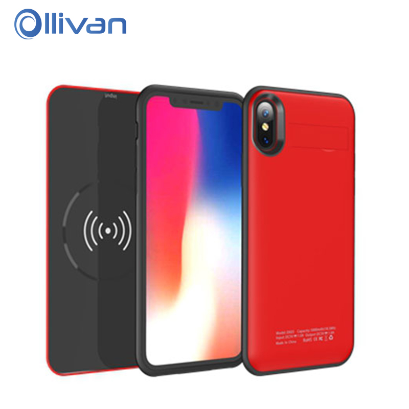 New Wireless Charging Case For iPhone X Case 5000mAh Battery Power Bank Case For iPhone X 10 External Battery Wireless Charger