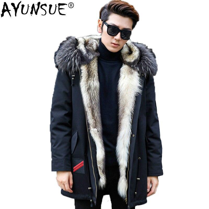 AYUNSUE chaqueta de invierno Lobo Real abrigo de piel de los hombres Parka hombre Piel de mapache Collar de lujo Parkas Plus tamaño Manteau Homme Hiver KJ1155