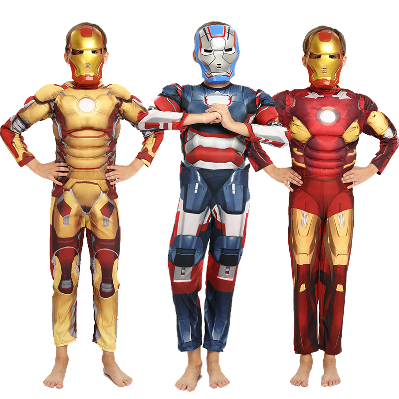 Children Blue Yellow The Avengers Iron Man Costume With Stretchy Party Clothes Clothing Fancy dress For Kids 3-12 Ages