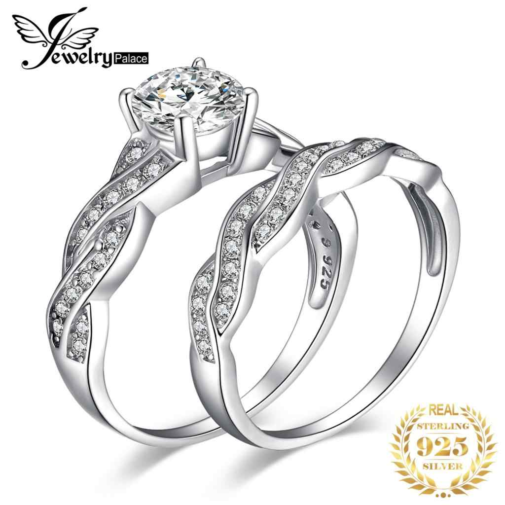 JewelryPalace 925 Sterling Silver Infinity X Simulated Diamond CZ Wedding Bands Anniversary Promise Engagement Ring Bridal Sets