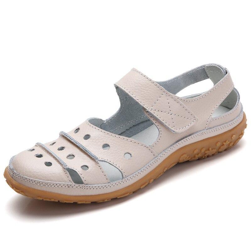 Image 4 - Women Sandals Plus Size Split Leather Soft Bottom 2019 Summer Flat Shoes Woman Leisure Sandal Cut out Mothers Sandalias SH060401Low Heels   -