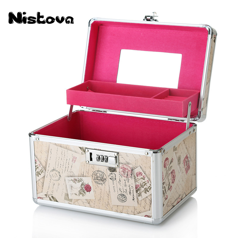 Professional Aluminium Women Makeup Box Password Lock Cosmetic Bag Case Portable Travel Jewelry Cosmetic Bag With Mirror Beauty