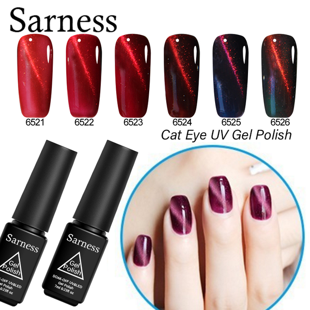 Sarness 3D DIY Red Flame Cat\'s Eye UV Gel Varnish 6 Lucky Colors Gel ...