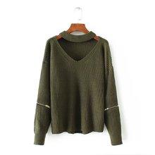 Sweater Women Autumn Knitted Pullover V Neck Long Sleeve Solid Jumper Winter Knitwear Warm Tops Streetwear