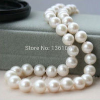 8 9mm AAA white fresh water pearl necklace 18inch clasp